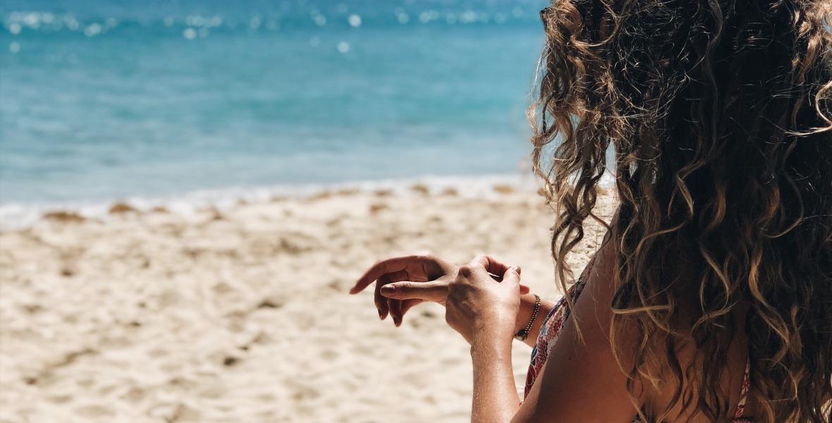 playa caribe bronceado verano